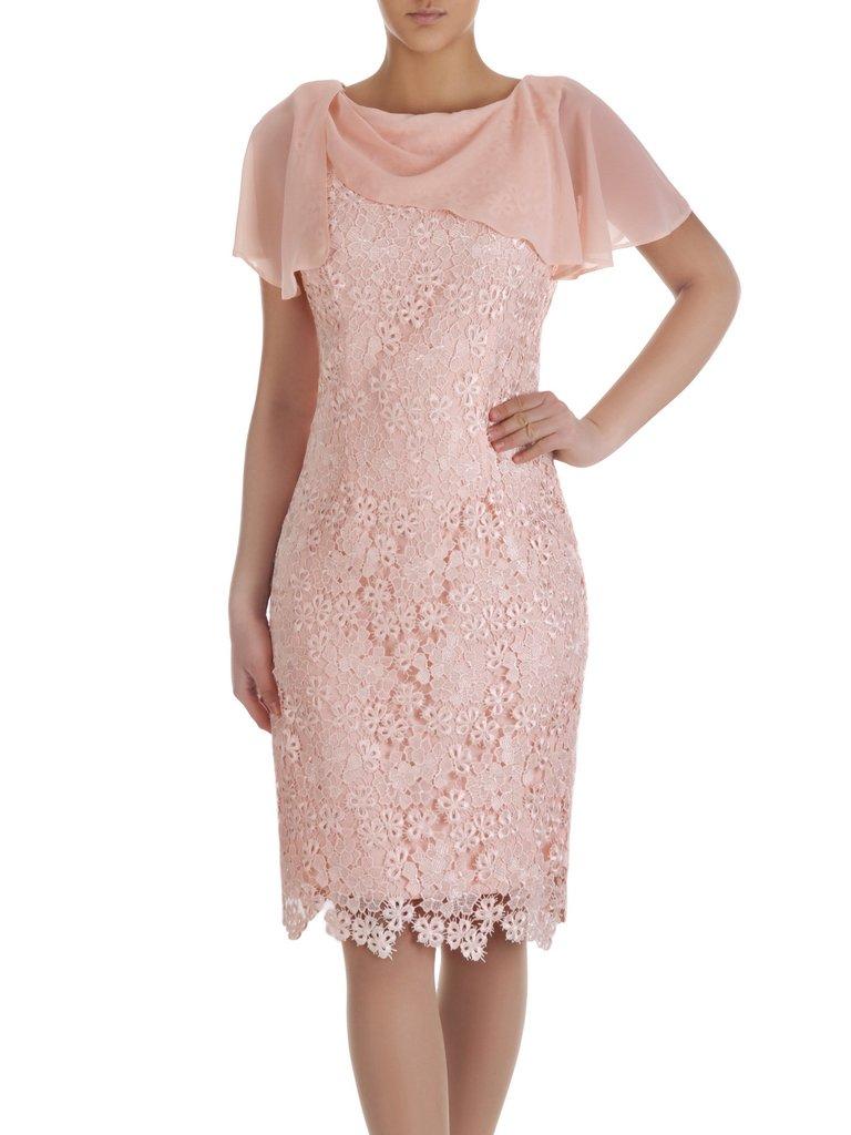 e0fea619fdbde7 Kliknij, aby powiększyć; Koronkowa sukienka z szyfonowym szalem 14880,  pastelowa kreacja ...