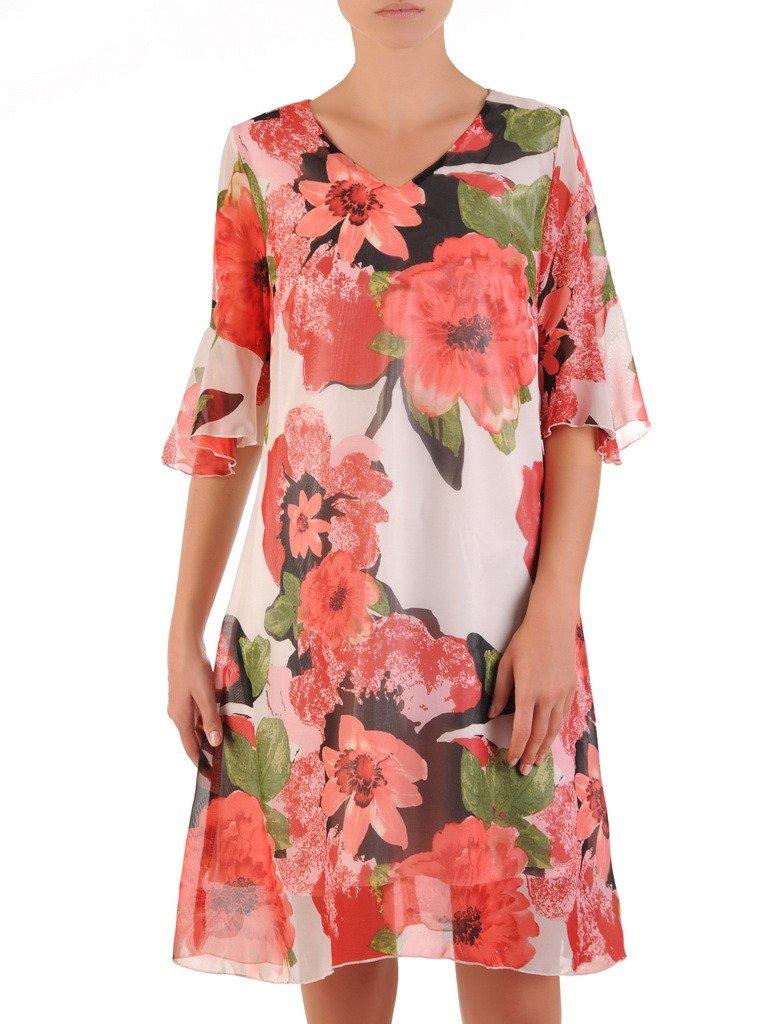31865ef1 Luźna kreacja z szyfonu, zwiewna sukienka w kwiaty 21597.
