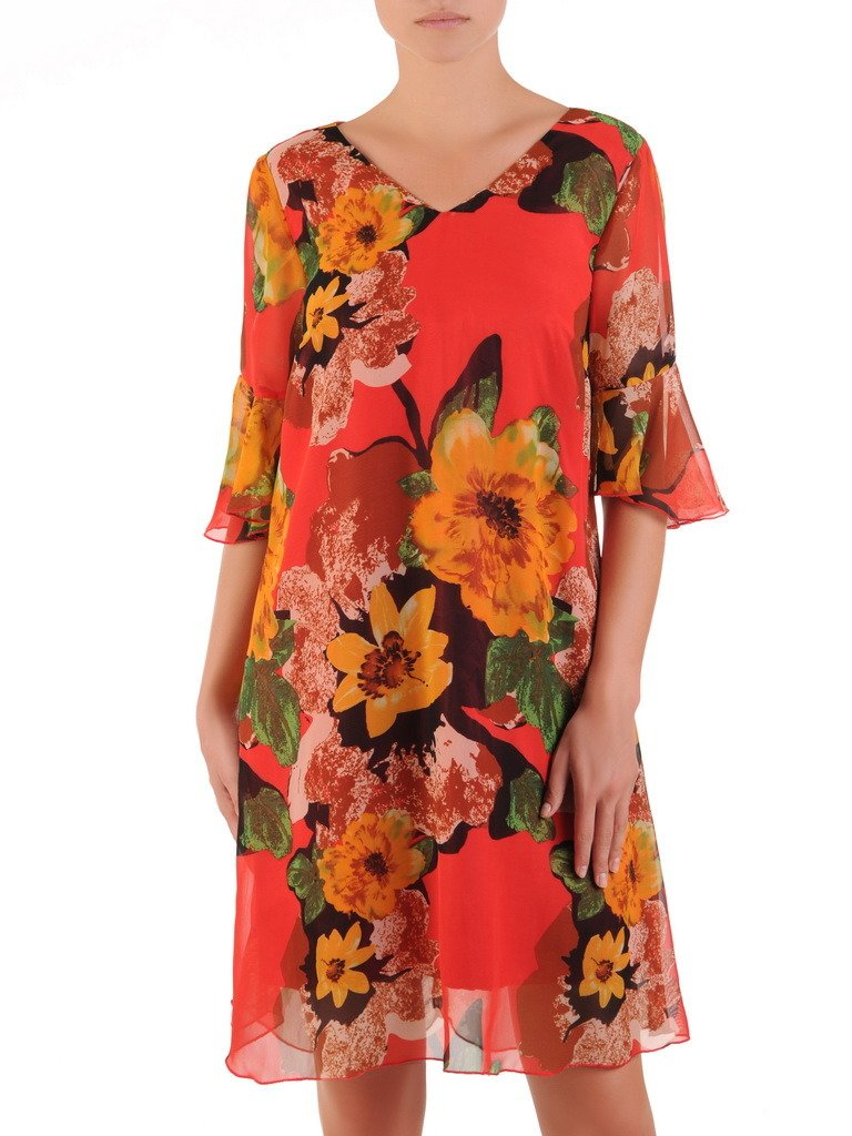 e6373aea Luźna kreacja z szyfonu, zwiewna sukienka w kwiaty 21605.