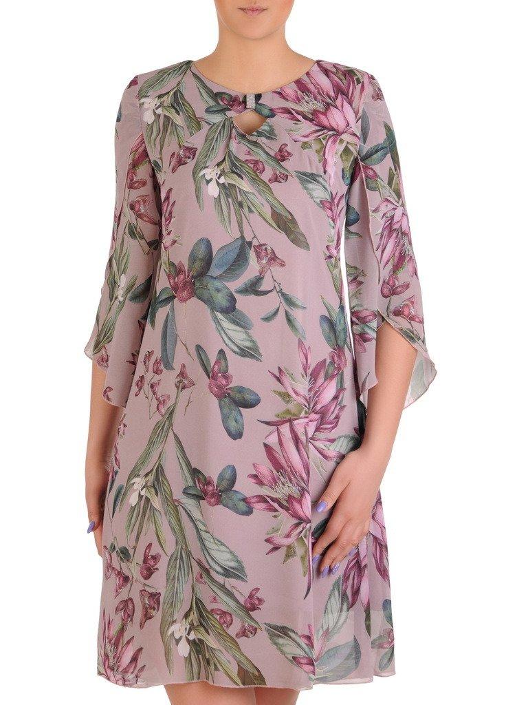 fe6022797ac077 Luźna sukienka w kwiaty, zwiewna kreacja z szyfonu 20466.   Sklep ...