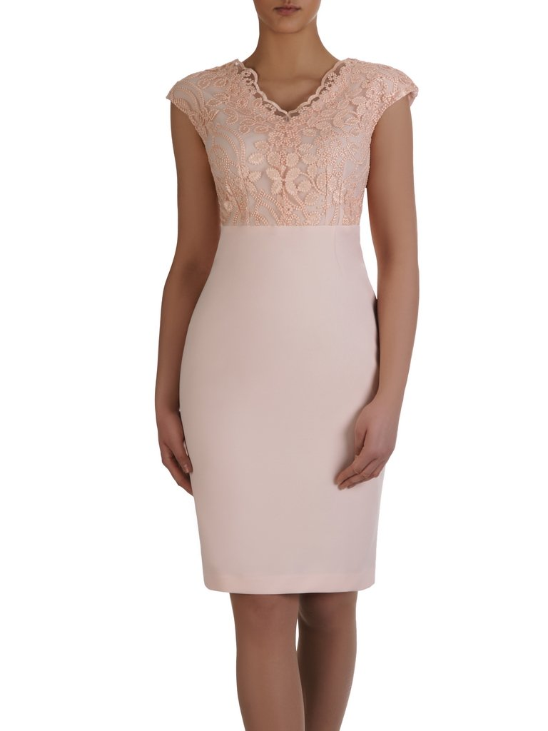 40477543 Modna sukienka z koronkowym topem 15305, elegancka kreacja na wesele.