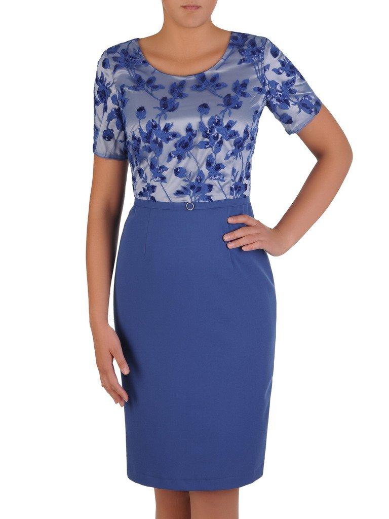 0cd7854d8b Niebieska sukienka z koronkowym topem Delfina. Kliknij