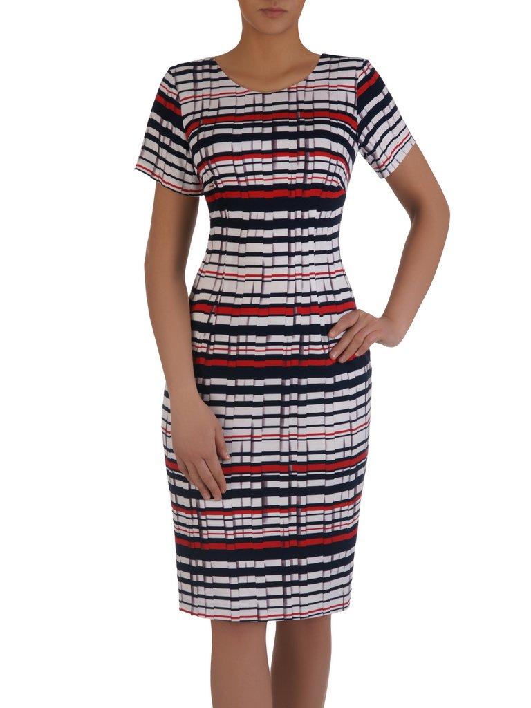 6dfa5783ed Nowoczesna sukienka w geometryczny wzór 15866. Kliknij