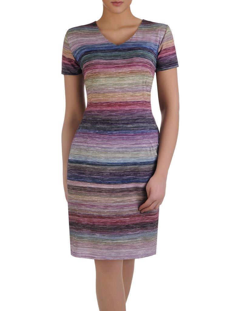 94d8470f4c Nowoczesna sukienka w kolorowe paseczki 14932