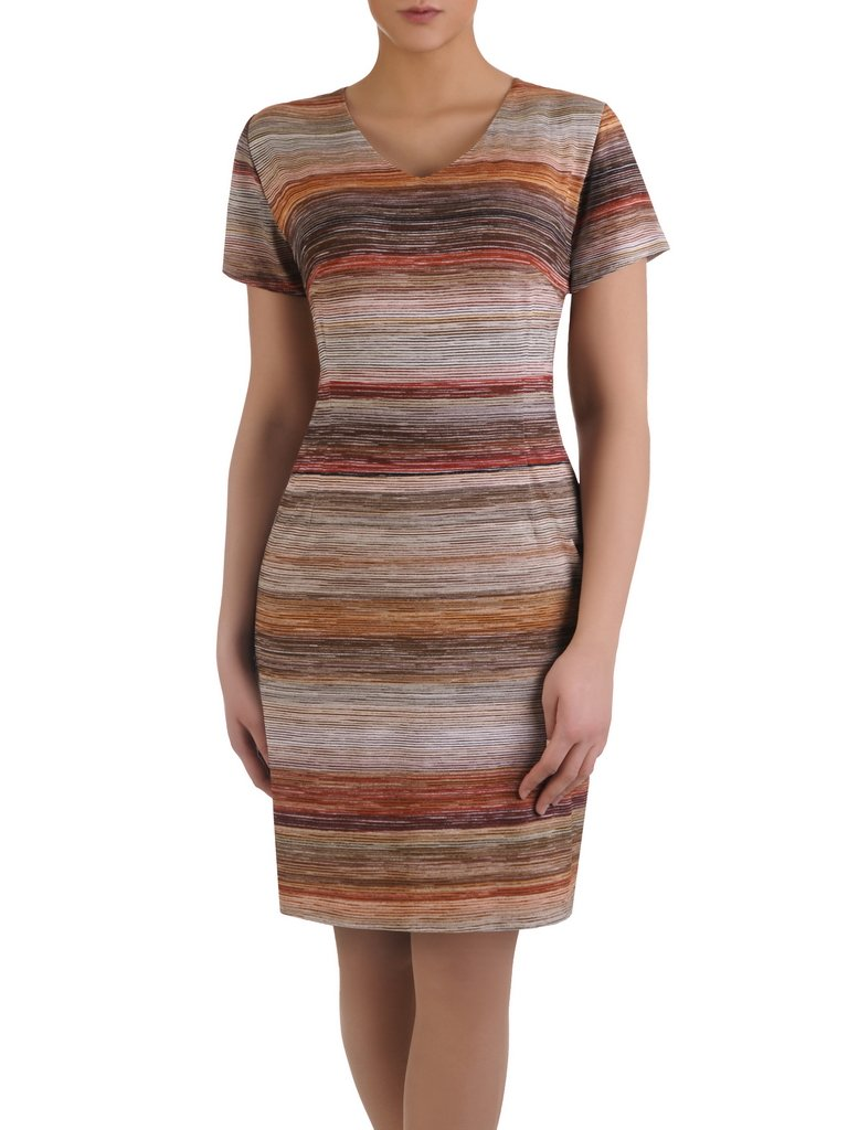 8df252741d Nowoczesna sukienka w kolorowe paseczki 14933