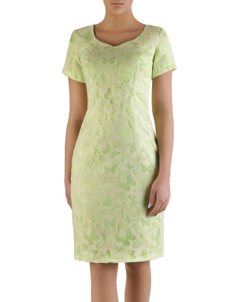 Pistacjowa sukienka na wesele Konstancja, szykowna kreacja w motyle.