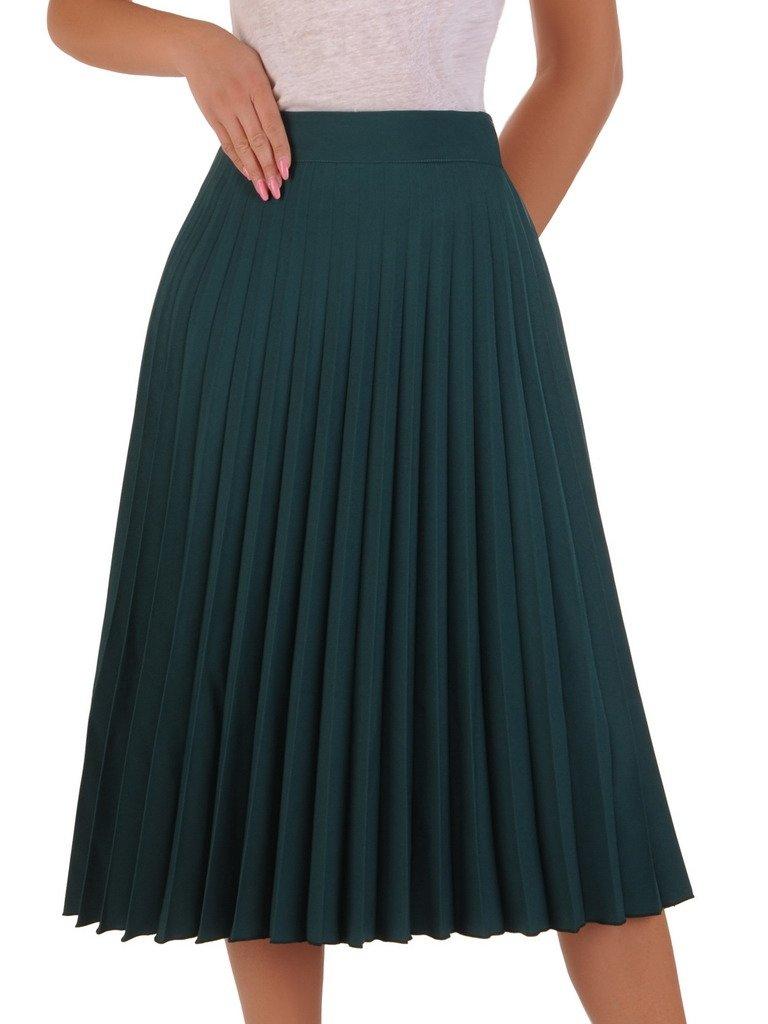Długa plisowana spódnica midi Butelkowa zieleń | FEMALE