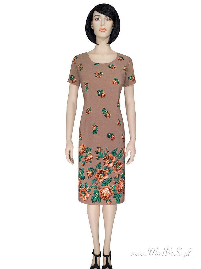 6828a90607 ... Prosta sukienka z atrakcyjnym nadrukiem Róża V