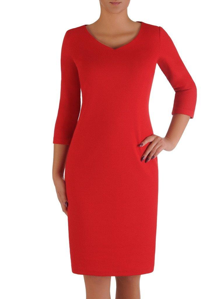 f863fdacf1a7c1 Prosta sukienka z dekoltem w serek 17926, czerwona kreacja z ...