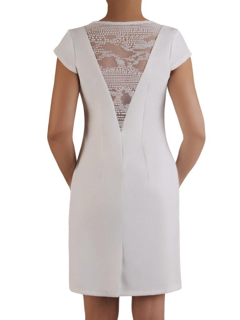 29099701 Prosta sukienka z koronką na plecach 17315, nowoczesna kreacja z krótkimi  rękawami.