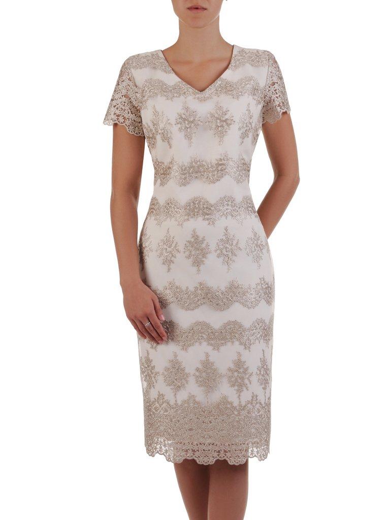 4ff96a6625 Prosta sukienka z połyskującej koronki 16716