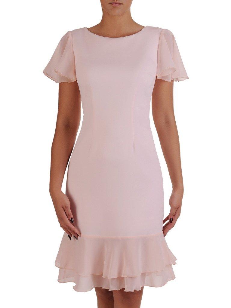 680c4f44a1 Pudrowa sukienka z szyfonowymi falbankami 17209. Kliknij