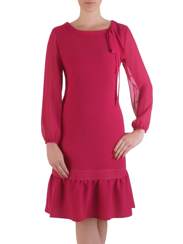 12da2a9052 Romantyczna sukienka z kokardą przy dekolcie 17613.