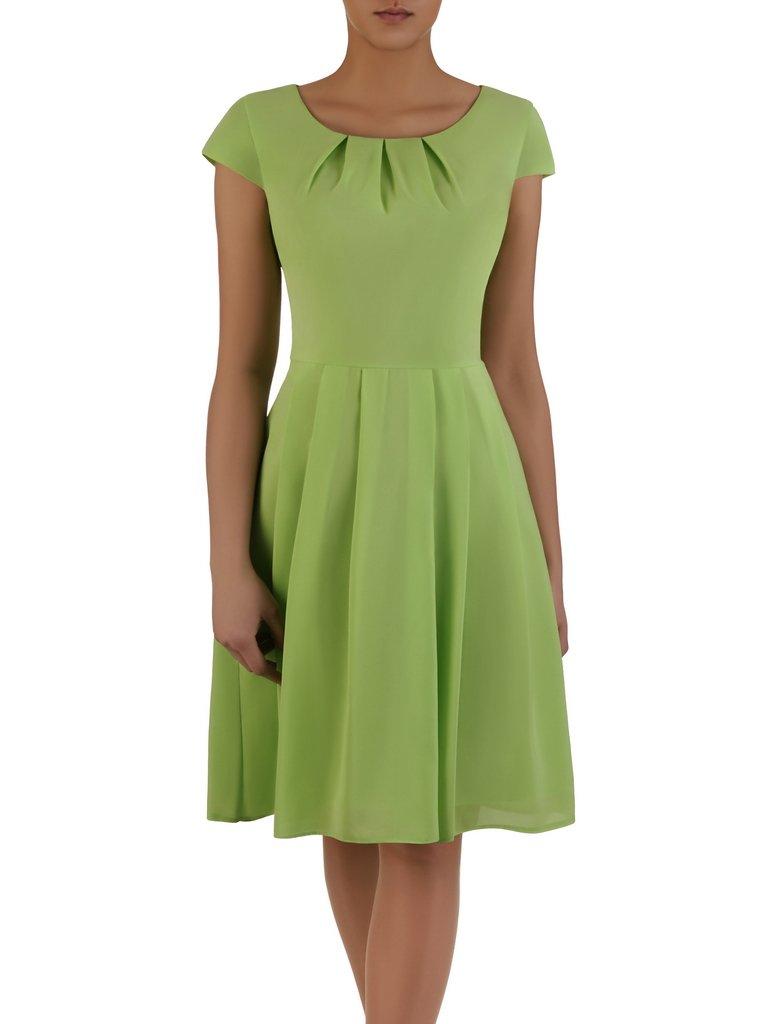 3c96a203057abd Rozkloszowana sukienka Izaura I, kreacja w kolorze pistacjowym ...