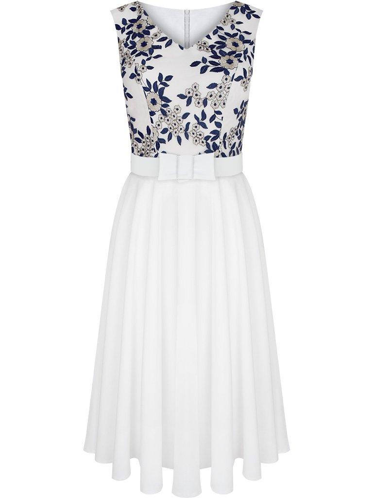 6e8c4ca6 Rozkloszowana sukienka na wesele Renata II, elegancka kreacja z paskiem.