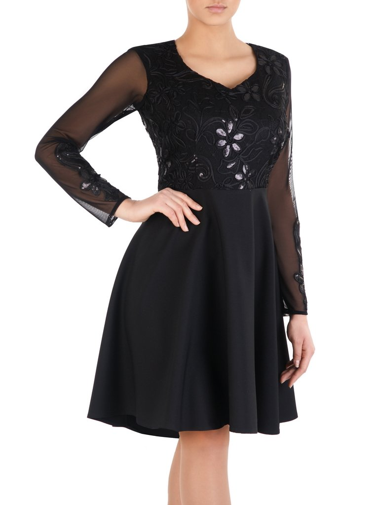 7dd5b103 Rozkloszowana sukienka ozdobiona cekinami 14320, kreacja z koronkowym topem.