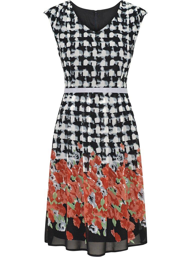345431cb03 Rozkloszowana sukienka w czerwone kwiaty Anna