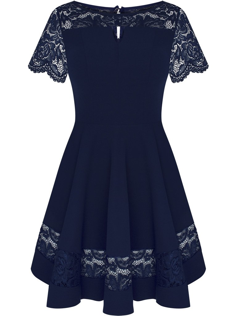 65fbbd383c Rozkloszowana sukienka z koronkową wstawką Justyna I