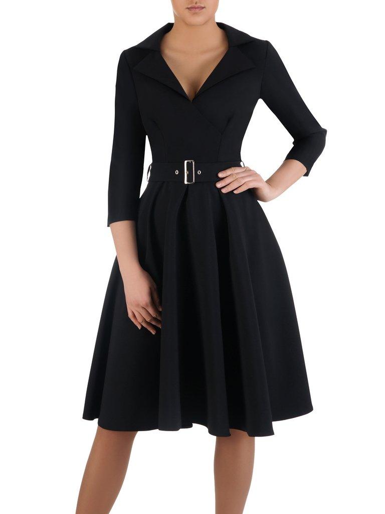 c24125f4c3 Rozkloszowana sukienka z modnym kołnierzem 14803