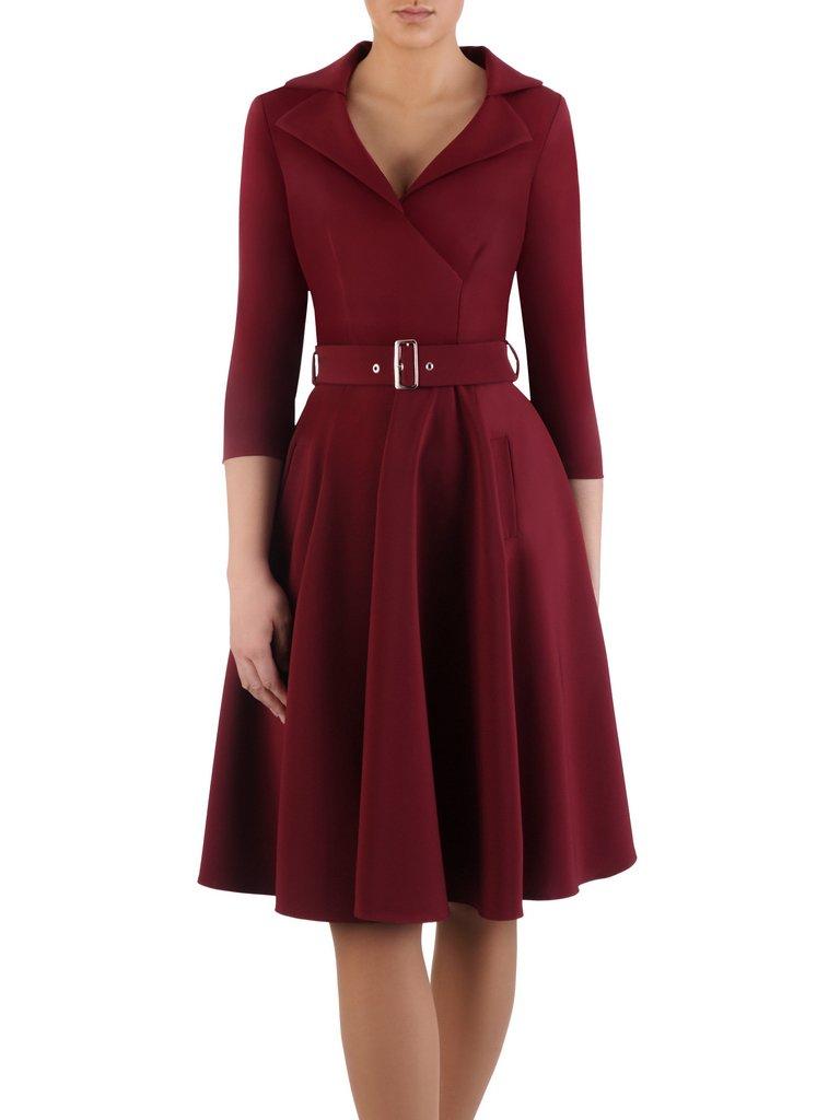 5a7b48fca9 Rozkloszowana sukienka z modnym kołnierzem 14804