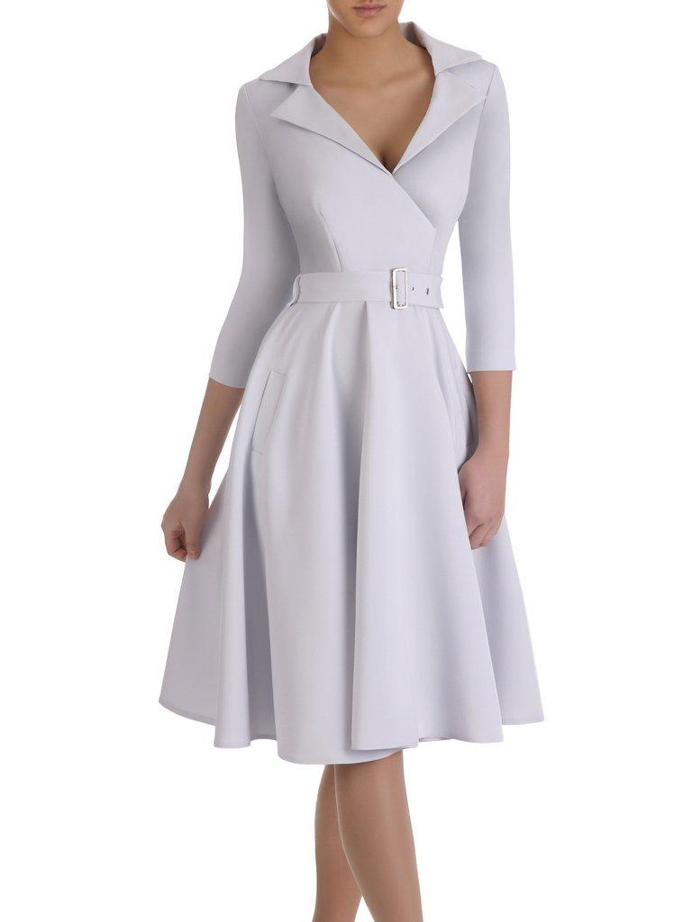 Rozkloszowana Sukienka Z Modnym Kolnierzem 14900 Elegancka Kreacja Z Paskiem Sklep Online Modbis Pl