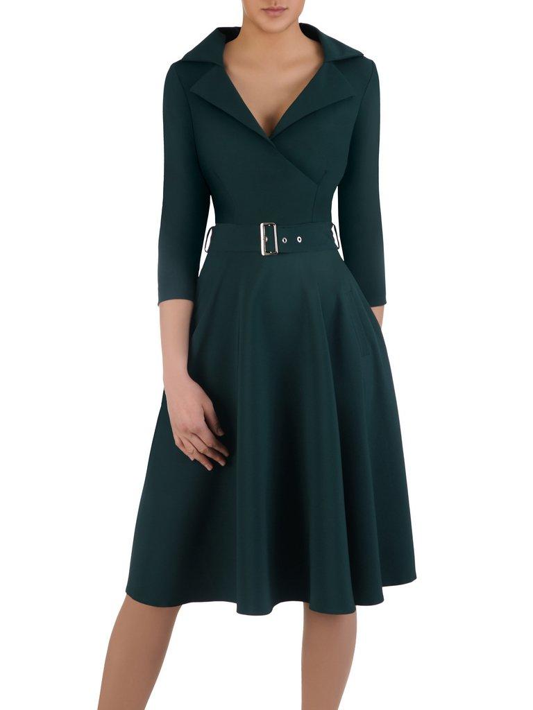 Rozkloszowana Sukienka Z Modnym Kolnierzem 14953 Elegancka Kreacja Z Paskiem Sklep Online Modbis Pl