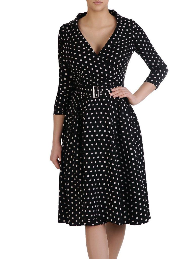 a0a86d1e1 Kliknij, aby powiększyć; Rozkloszowana sukienka z modnym kołnierzem 15333,  elegancka kreacja ...
