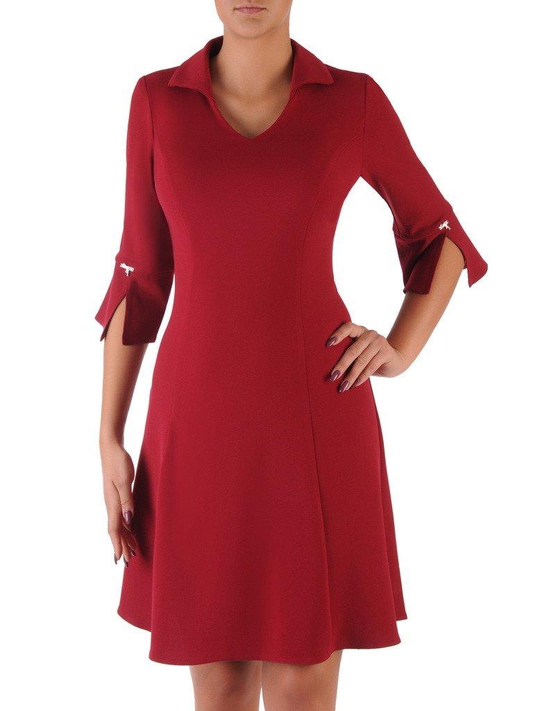 5694480d2d Rozkloszowana sukienka z modnym kołnierzykiem 18118