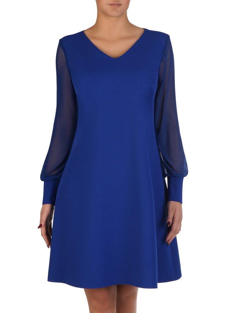 45ff2632 Rozkloszowana sukienka z modnymi rękawami 18312, chabrowa kreacja wizytowa.