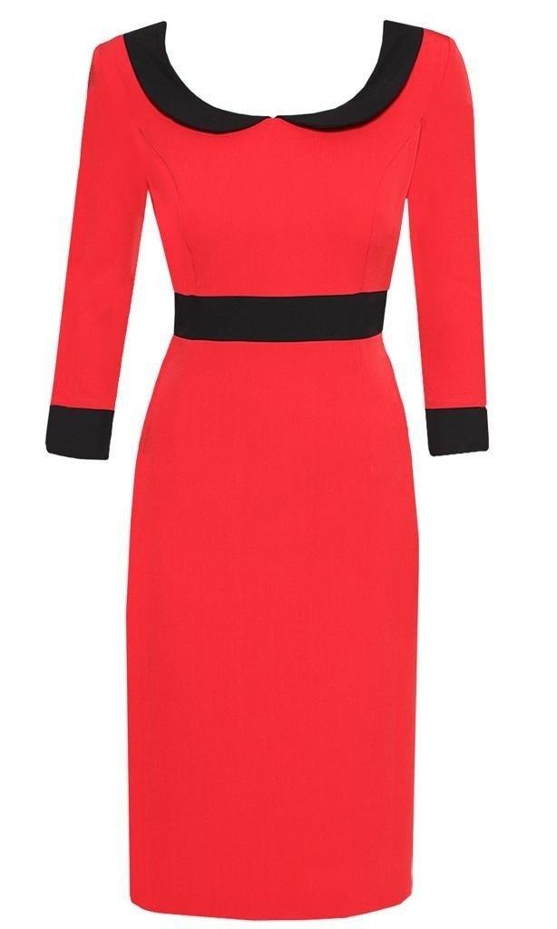 92a243795732f0 Sukienka Rosa XVII, klasyczna czerwona kreacja z czarnymi wstawkami ...