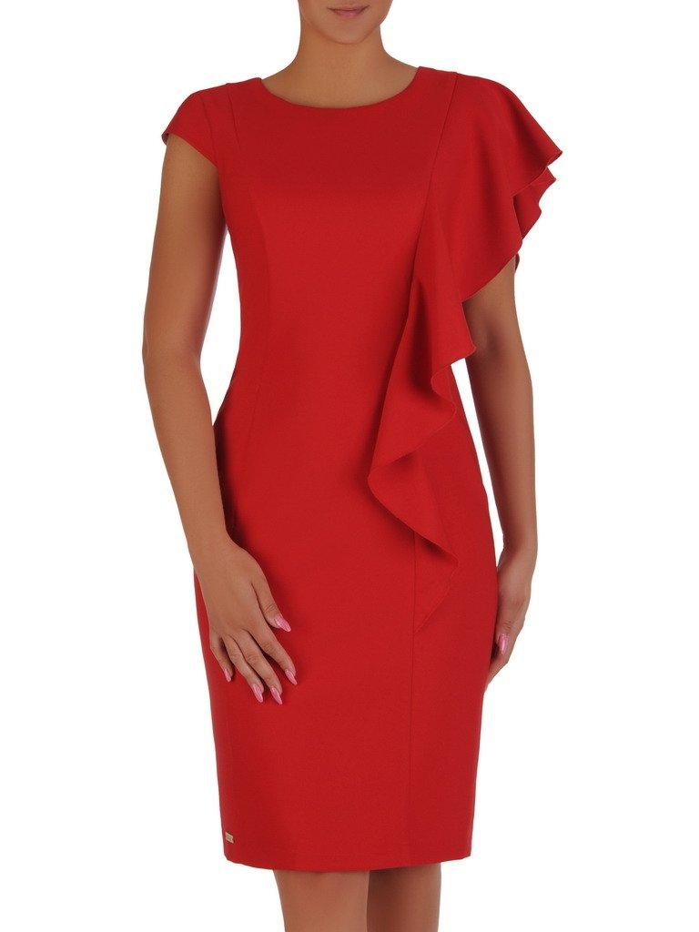 Sukienka czerwona 17807, elegancka kreacja z ozdobną falbaną.
