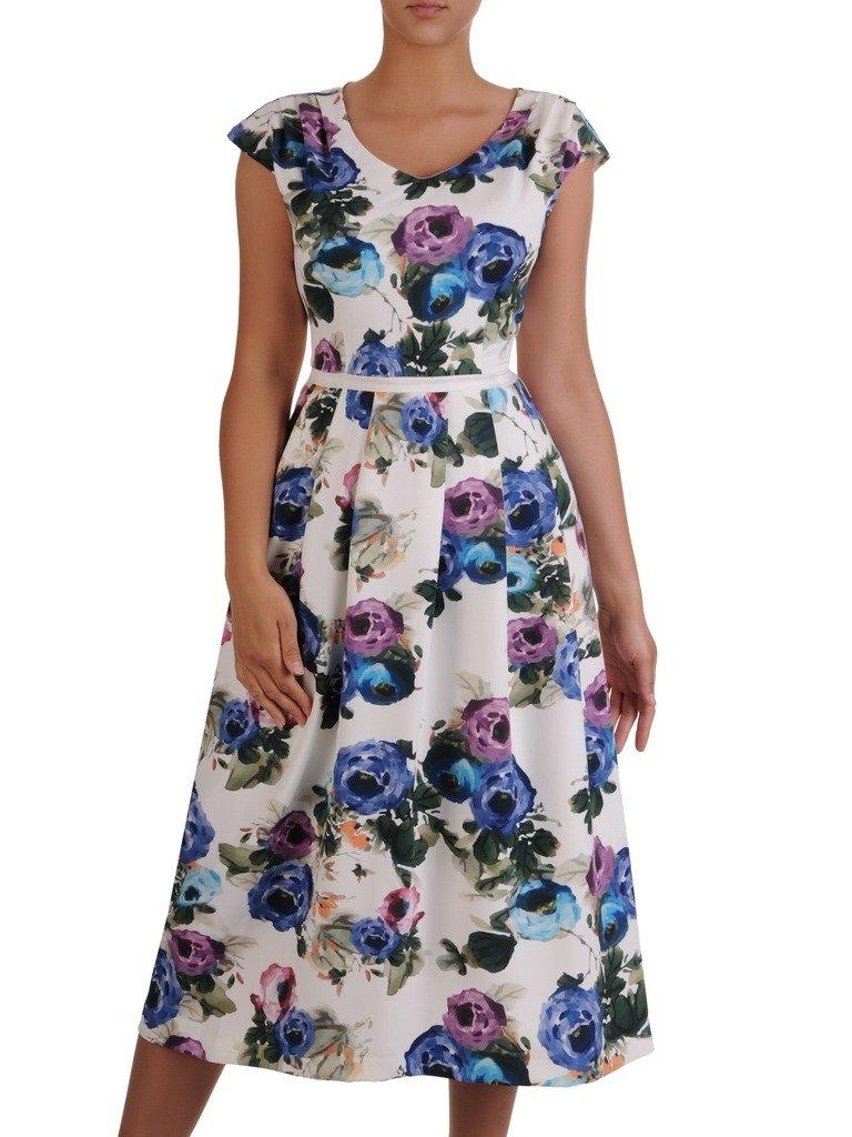 2e467f518106c8 Sukienka damska 16808, długa kreacja w kwiaty. | Sklep online ModBiS.pl