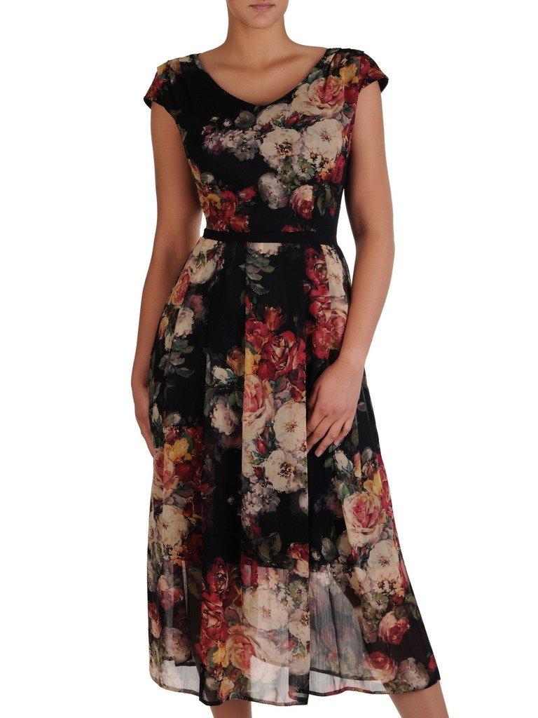 4f441fcead4200 Sukienka damska 17140, długa kreacja w kwiaty. | Sklep online ModBiS.pl