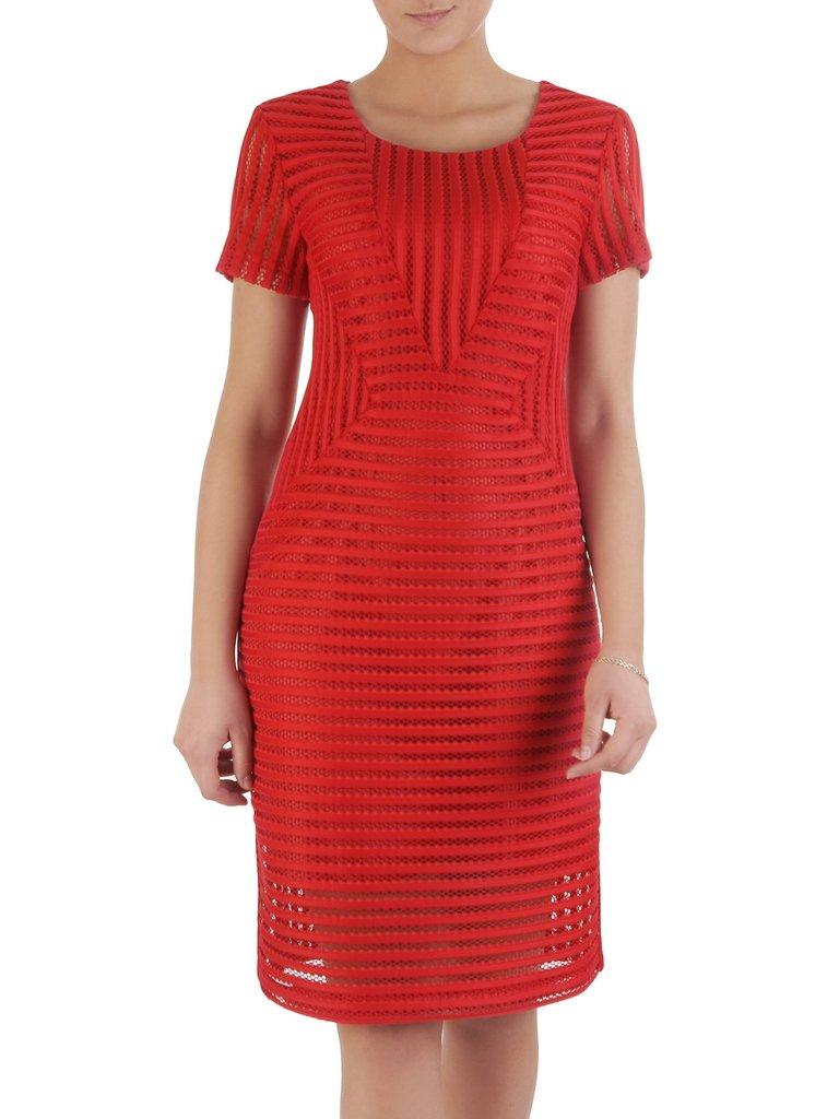 Sukienka damska Dalila I, czerwona kreacja z koronki.