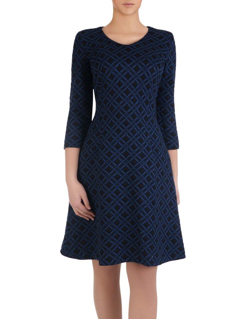 c8403b8f0431e6 Sukienka damska Feliksa X, dzianinowa kreacja w geometrycznym wzorze ...