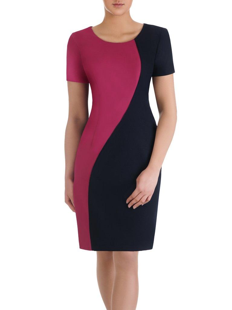 79a48f346 Sukienka dwukolorowa Sulima, wyszczuplająca kreacja wizytowa. Kliknij, aby  powiększyć ...