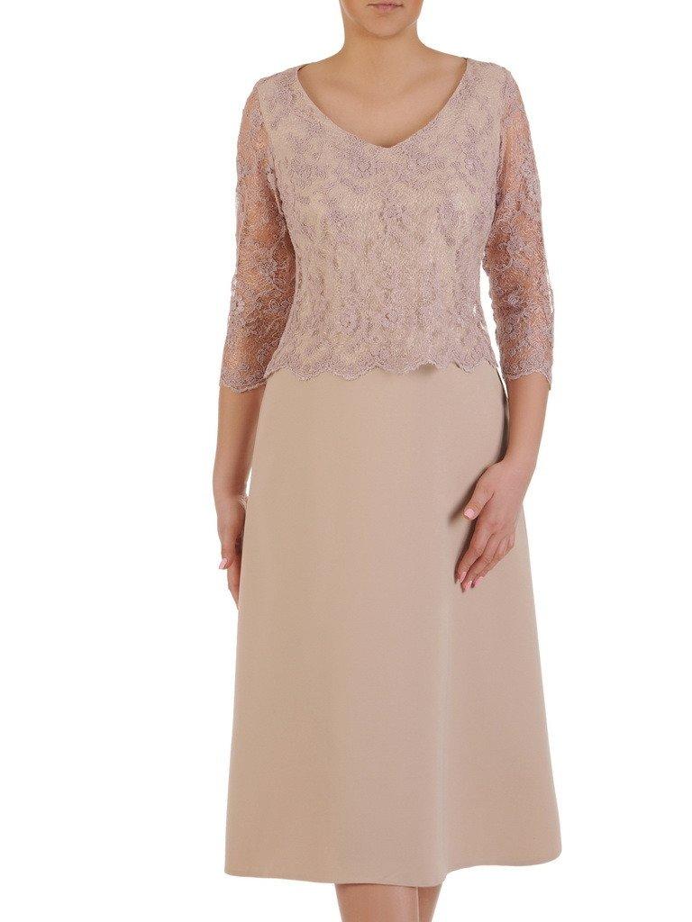 fedc296f Beżowa sukienka na wesele, nowoczesna kreacja wykończona koronką 19740