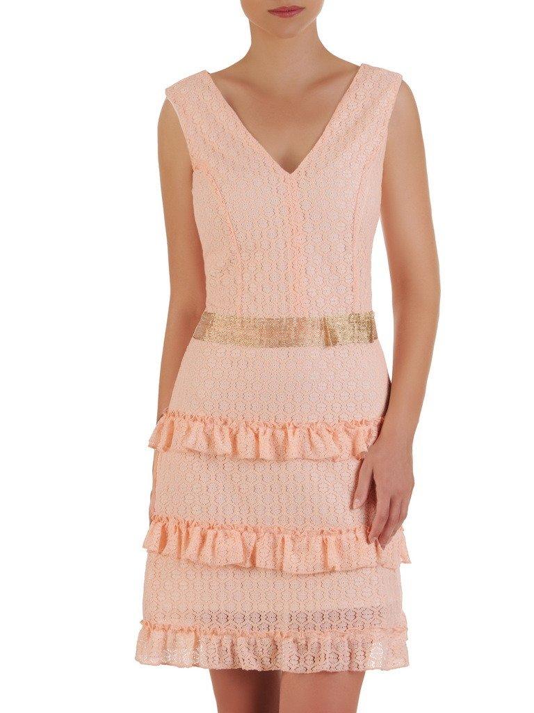 f05f3e39 Romantyczna sukienka wykończona falbankami, elegancka kreacja z koronki  21489