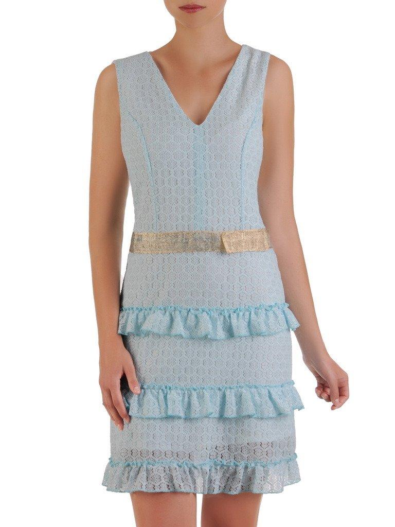 0a601683 Romantyczna sukienka wykończona falbankami, elegancka kreacja z koronki  21490