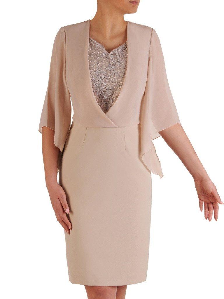 7943d8ed Sukienka na wesele, elegancka beżowa kreacja 20020.