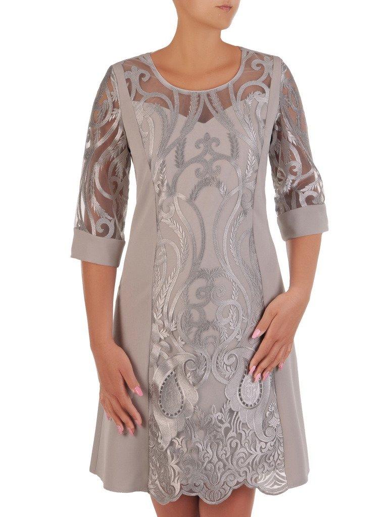 f491574d Sukienka na wesele, elegancka kreacja z koronki i tkaniny 20997.