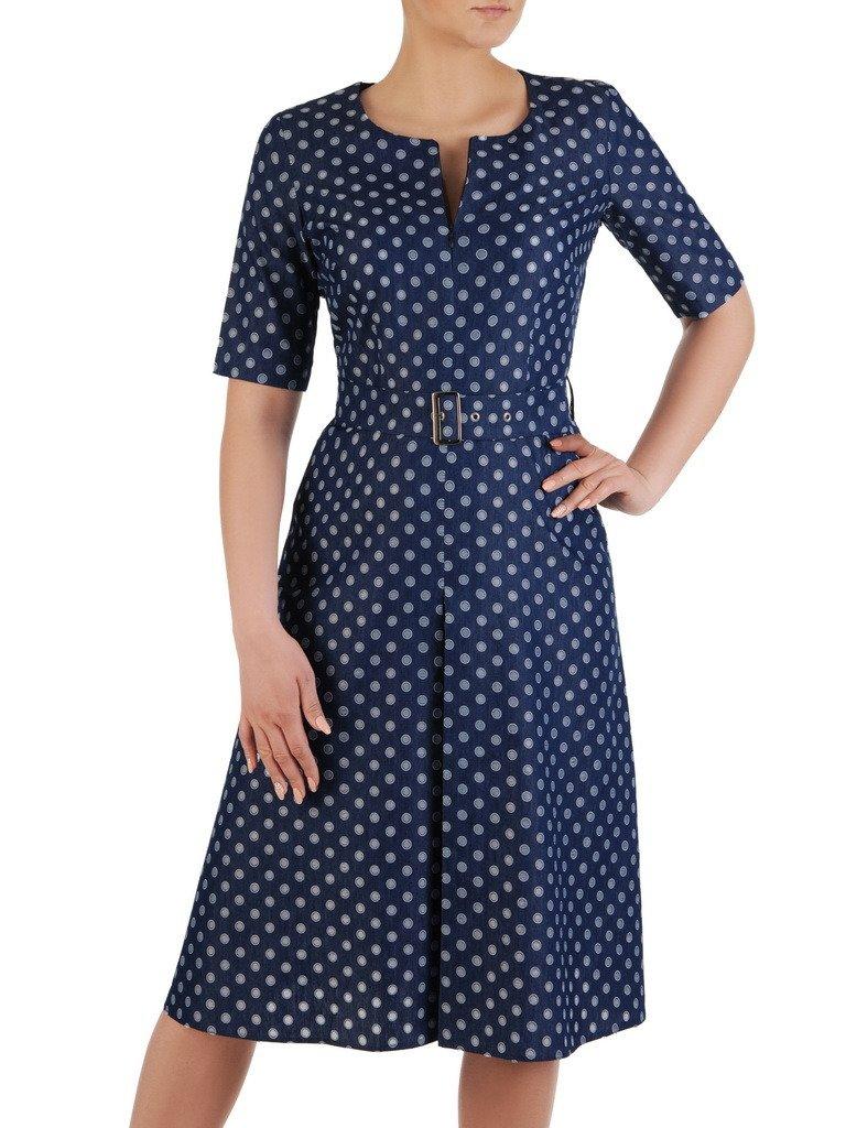 cbc61e87a Sukienka w groszki, dżinsowa kreacja z paskiem 20566. | Sklep online ...