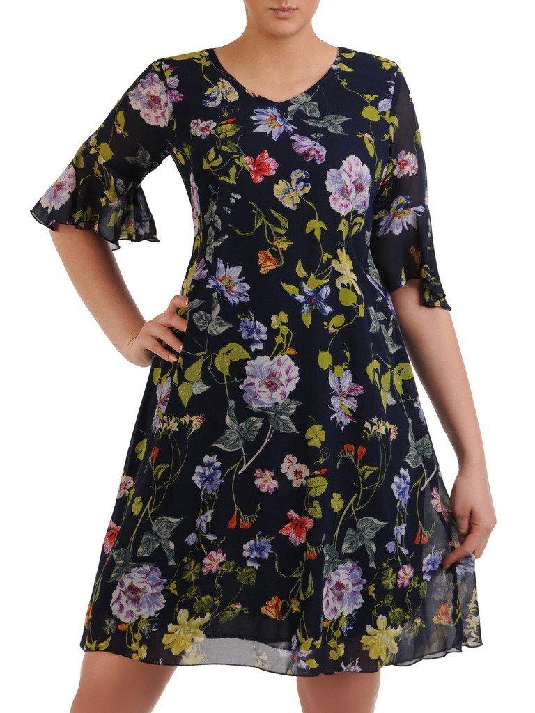 215dc0d6 Sukienka w kwiaty, luźna kreacja z szyfonu 20727.