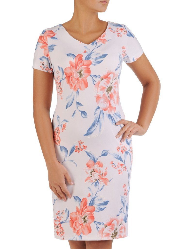 53c05109 Sukienka w kwiaty, prosty fason z dekoltem w serek 21728.