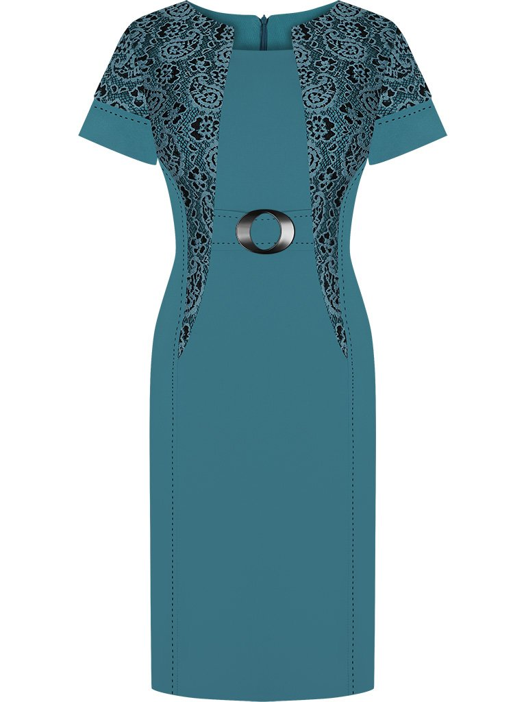 cfb69109896126 Sukienka wizytowa Aleksis VIII, wiosenna kreacja z dodatkiem koronki ...