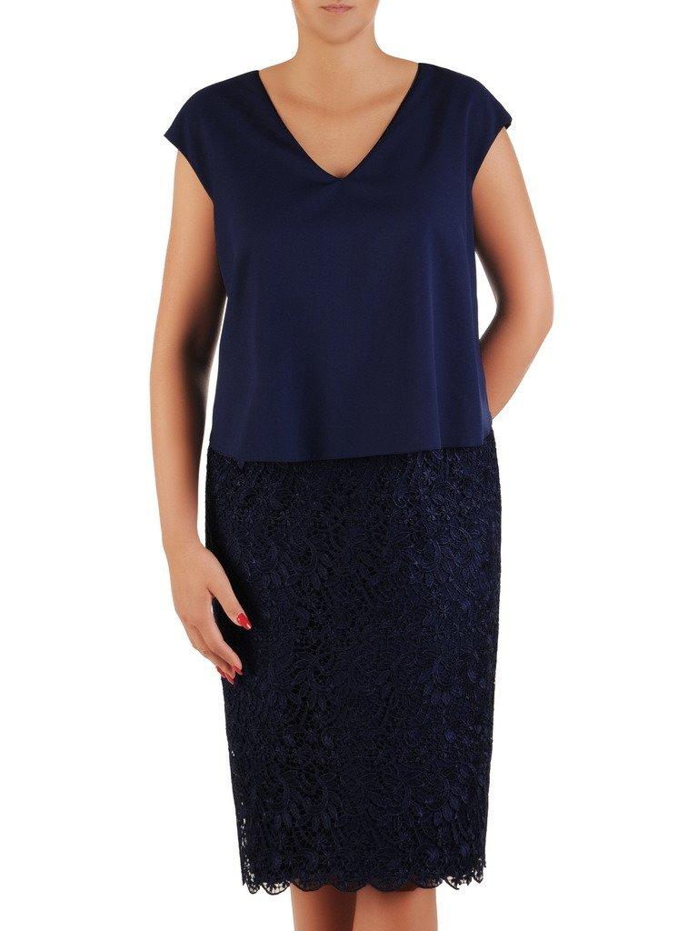 a95f6c26 Granatowa sukienka z łączonych tkanin, wizytowa kreacja bez rękawów 21300