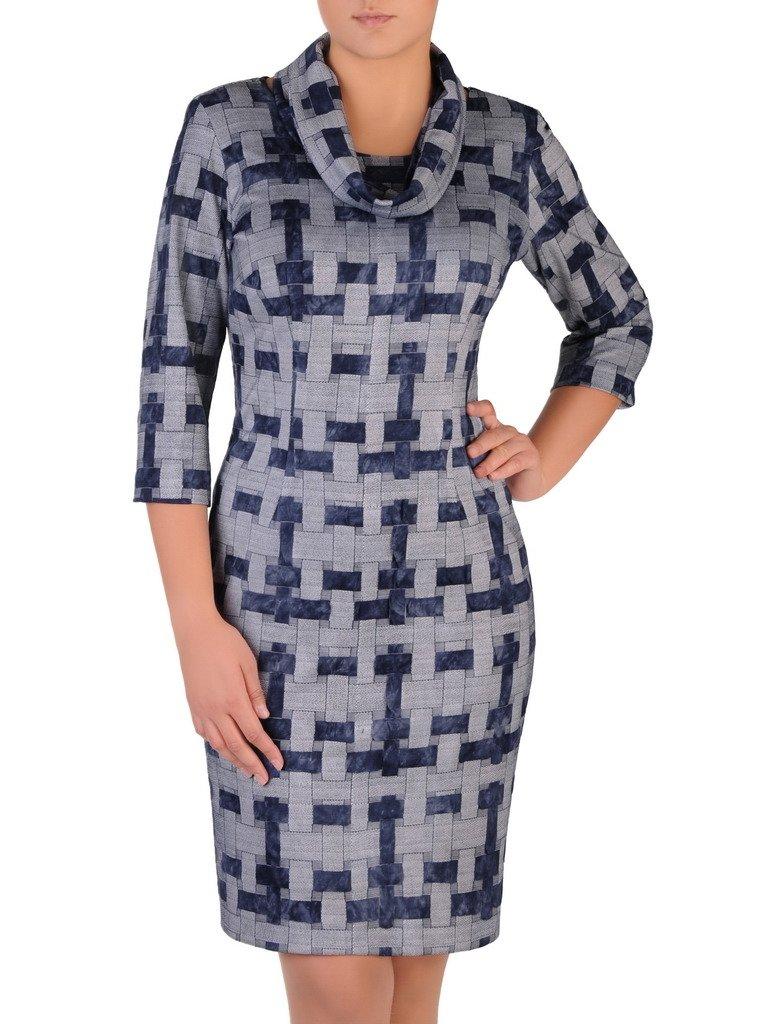6374b2307e5ae3 Sukienka z kominem Krystyna XII, jesienna kreacja w geometrycznym ...