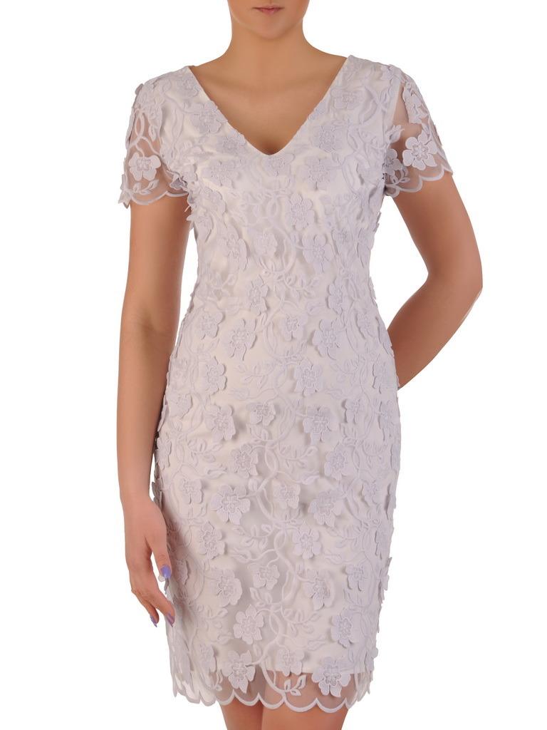 2bf6e645 Prosta sukienka z kwiatowymi aplikacjami, elegancka kreacja z ozdobnej  koronki 20288