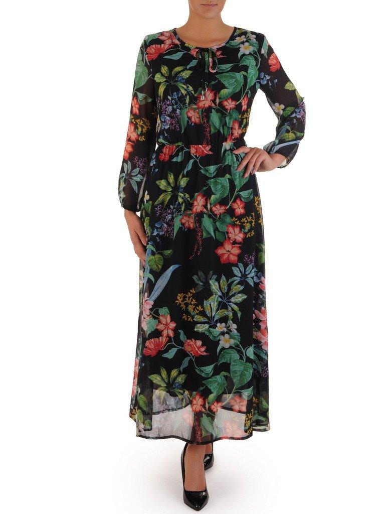 b720a3be Sukienka z szyfonu 17704, zwiewna kreacja w jesiennej kolorystyce.