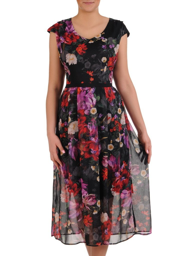 05106d62c15b2b Sukienka z szyfonu, zwiewna kreacja w kwiaty 19642.   Sklep online ...